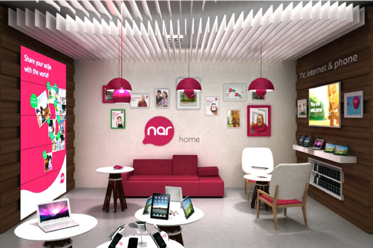 Nar telecom retail store design by shopworks